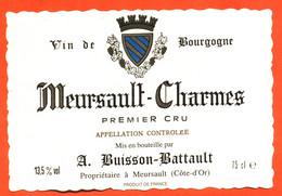 """étiquette De Vin De Bourgogne Meursault Charmes A Buisson Battault à Meursault """"  75 Cl - Bourgogne"""