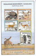 2018 Botswana Kgalagadi Biodiversity Mammals Wild Cats Giraffe Souvenir Sheet  MNH - Botswana (1966-...)