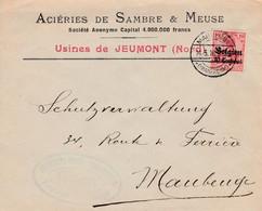 """Brief """"Usines De JEUMONT Nord"""" Naar Maubeuge - Verzending """"Maubeuge Frankreich"""" En Censuur Maubeuge In Blauw. - [OC1/25] Gen.reg."""