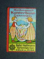 Reklamemarke Kunterbunt Eierfarben - Farbenfabriken Gebrüder Heitmann Köln Riga - Vignetten (Erinnophilie)