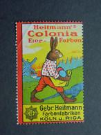 Reklamemarke Colonia Eierfarben - Farbenfabriken Gebrüder Heitmann Köln Riga - Vignetten (Erinnophilie)