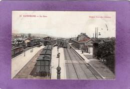 60 COMPIEGNE  La Gare TrainsWagons Locomotive  Carte Colorisée - Compiegne
