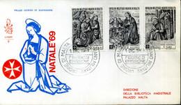 1969 SMOM FDC 47/49 Natale - Malta (Orden Von)