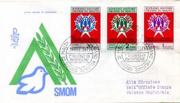 1971 SMOM FDC 71/73 Ventennale Del Commissariato ONU - Malta (Orden Von)