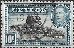 CEYLON 1938 King George VI - Sigiriya (Lion Rock) - 10c - Black And Blue FU - Ceylon (...-1947)