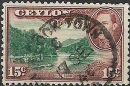 CEYLON 1938 King George VI - River Scene - 15c - Green And Brown FU - Ceylon (...-1947)