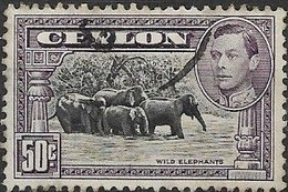 CEYLON 1938 King George VI - Wild Elephants - 25c - Blue And Brown FU - Ceylon (...-1947)