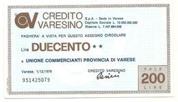 1976 - Italia - Credito Varesino - Unione Commercianti Provincia Di Varese - [10] Chèques