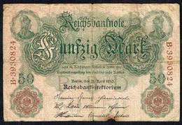 ALLEMAGNE - Reichbanknote - Fünfzig Mark - 50 Mark - Usagé - Used - B N° 3930824 - Année / Year 1910. - 50 Mark