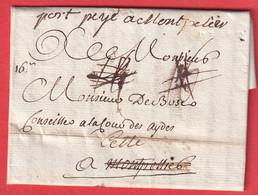 MARQUE A SEC BLAYE GIRONDE + PORT PAYE MANUSCRIT MONTPELLIER HERAULT REEXPEDIEE A CETTE SETE - 1701-1800: Precursori XVIII