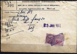 France 1936/58 - Timbre Fiscal Unifié - Médaillon De Daussy - YT TF 111 Sur Document 1943 - Fiscali