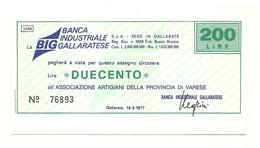 1977 - Italia - Banca Industriale Gallaratese - Associazione Artigiani Della Provincia Di Varese - [10] Chèques