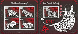 Tchad 2020, Year Of The Ox, 4val In BF +BF - Chinese New Year