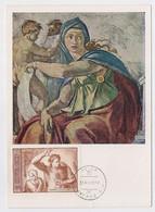 CARTE MAXIMUM CM Card USSR RUSSIA Art Painting Italy Michelangelo Painter Sistine Chapel - Cartoline Maximum