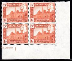 Aden Kathiri State Of Seiyun - 1954 Sultan Hussein 1s Plate Block  (**) # SG 35 - Aden (1854-1963)