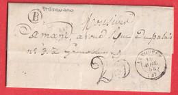 CAD TYPE 15 LE TOUVET ISERE BOITE RURALE B ST BERNARD TAXE 25 POUR GRENOBLE - 1801-1848: Precursors XIX