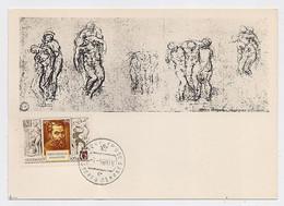 CARTE MAXIMUM CM Card USSR RUSSIA Art Painting Italy Michelangelo Painter - Cartoline Maximum
