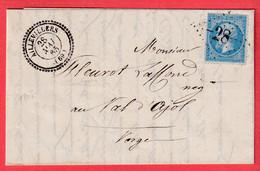 N°22 GC 28 CAD TYPE 22 AILLEVILLERS HAUTE SAONE LE VAL D'AJOL VOSGES - 1849-1876: Classic Period