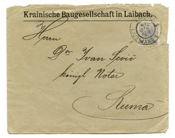Krainische Baugesellschaft In Laibach Company Letter Cover Posted 1896 Laibach (Ljubljana) B200120 - Slovenia