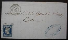 Bédarieux 1857 Pc 338 Sur N°14 Puech & Fils, Lettre Pour Cette (Sète) - 1849-1876: Classic Period