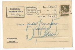 25908 - Schweizerische Krankenkasse Helvetia 1916 Nachnahme + Cachet Altdorf - UR Uri