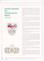 Exemplaire N°001 Feuillet Tirage Limité 500 Exemplaires Frappe Or Fin 23 Carats 1825 SNCB Chemin De Fer - Kleinbögen