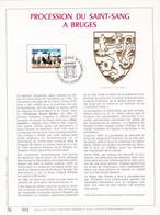 Exemplaire N°001 Feuillet Tirage Limité 500 Exemplaires Frappe Or Fin 23 Carats 2090 Procession Du Saint-Sang Bruges - Kleinbögen