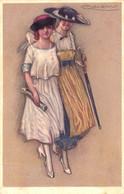 ART DÉCO  : JEUNE FEMME Avec CHAPEAU En PROMENADE / YOUNG LADY With LARGE HAT WALKING - ILLUSTRATION : MAUZAN (af712) - Mauzan, L.A.