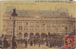 PARIS: Gare Saint Lazare - Cour De Rome ( 1917 )- Beau  Cliché  Sur Les Transports à Paris - Metropolitana, Stazioni