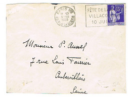 FRANKERS PARIS VIII FETE DE L'AVIATION VILLACOUBLAY JUILLET 38 SUR LETTRE - Sellados Mecánicos (Publicitario)