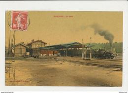 40 MORCENX  LA GARE AVEC TRAIN CPA BON ETAT - Stations With Trains