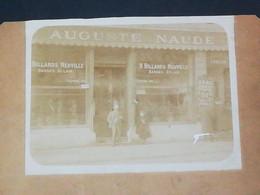 Courcelles?? Photo Format 11.5x9cm / Commerce Auguste Naude, Billards Neuville (voir Dos) - Places