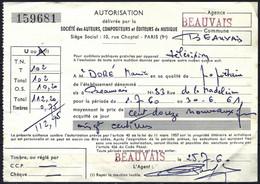 France 1936/58 - Timbre Fiscal Unifié - Médaillon De Daussy - YT TF 328 Sur Document 1960 - Fiscali