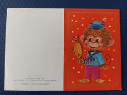 OLD USSR Mini Card. Monkey. 1990. Manilova - Affen