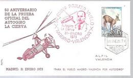 50 ANIVERSARIO PRIMER VUELO MADRID-VALENCIA 1973 - 1971-80 Storia Postale