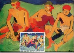 59734 Monaco, Maximum 1980, Painting Of Andre Derain,  Trois Personnages Assis Sur L'herbe - Impressionisme