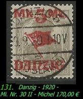 Mi. Nr. 30 II In Gebraucht - Ungeprüft - DANZIG 5 -R- - Danzig