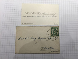20BH - Carte Avec Enveloppe Affranchie Charleroi Albert Gissalin Leclef Rue De Loverval - Visitenkarten
