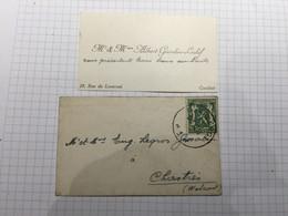 20BH - Carte Avec Enveloppe Affranchie Charleroi Albert Gissalin Leclef Rue De Loverval - Visiting Cards