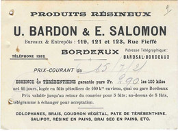 1921 Carte Commerciale BARDON SALOMON / 33 Bordeaux / Bois Produits Résineux, Essence Térébenthine, Résine En Pains, Etc - Autres