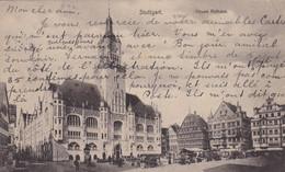 ALLEMAGNE . STUTTGART. NEUES RATHAUS . JOUR DE MARCHE .  ANNÉE 1905 +  TEXTE - Stuttgart