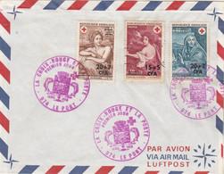 REUNION FDC Yvert 388 Et 389 Paire  Croix Rouge Le Port 14/12/1969 + Timbre Ajouté 382 - Lettres & Documents