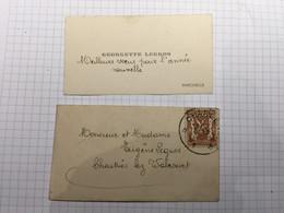 20BH - Carte Avec Enveloppe Affranchie Charleroi Georgette Legros Marcinelle 1941 - Visiting Cards