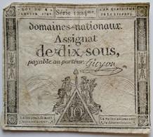 Francs - 10 Sous - 1792 - Série 1224 - TB+ - Assegnati