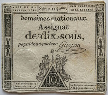 Francs - 10 Sous - 1792 - Série 1142 - TB+ - Assegnati