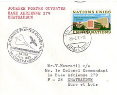 BA Chateaudun 1973 - BT Portes Ouvertes JPO Sur Lettre ONU Genève - Armée De L'air - Bolli Militari A Partire Dal 1940 (fuori Dal Periodo Di Guerra)