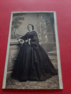 PHOTO FORMAT C. D . V .  GERSCHEL FRERES . STRASBOURG /CAROLINE SIECHT ( Kaigler ) MERE ONCLE ALBERT / DOS SCANNE - Oud (voor 1900)