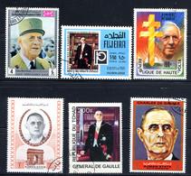 GENERAL DE GAULLE, 6 Valeurs Provenant De Divers Pays, Oblitérés / Used. Tchad Haute-Volta, Ajman Fujeira Yemen - De Gaulle (Generaal)
