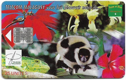 Madagascar - Telecom Malagasy - Nature Of Madagascar (Animals & Flowers) - 25Units, SC7, 600.000ex, Used - Madagascar