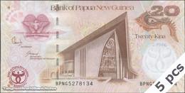 TWN - PAPUA NEW GUINEA 36a - 20 Kina 2008 DEALERS LOT X 5 - 35th Ann. Bank Of PNG - Prefix BPNG UNC - Papua Nuova Guinea